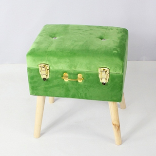 Velvet Fashion KD Footstool And Ottoman with Wooden Feet
