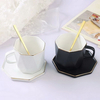 Fashion White And Black Couple's Coffee Milk Mug Set with Plate And Spoon