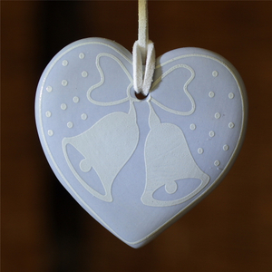 Custom Hanging Decoration Heart Shape Necklace Pendant Ceramic Christmas Ornament