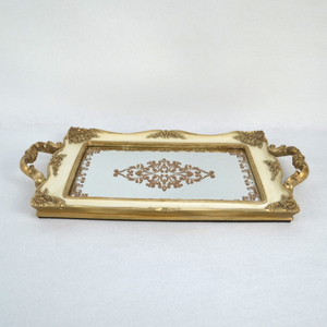 Metal Resin Mirrored Ornate Decorative Tray Jewelry Tray