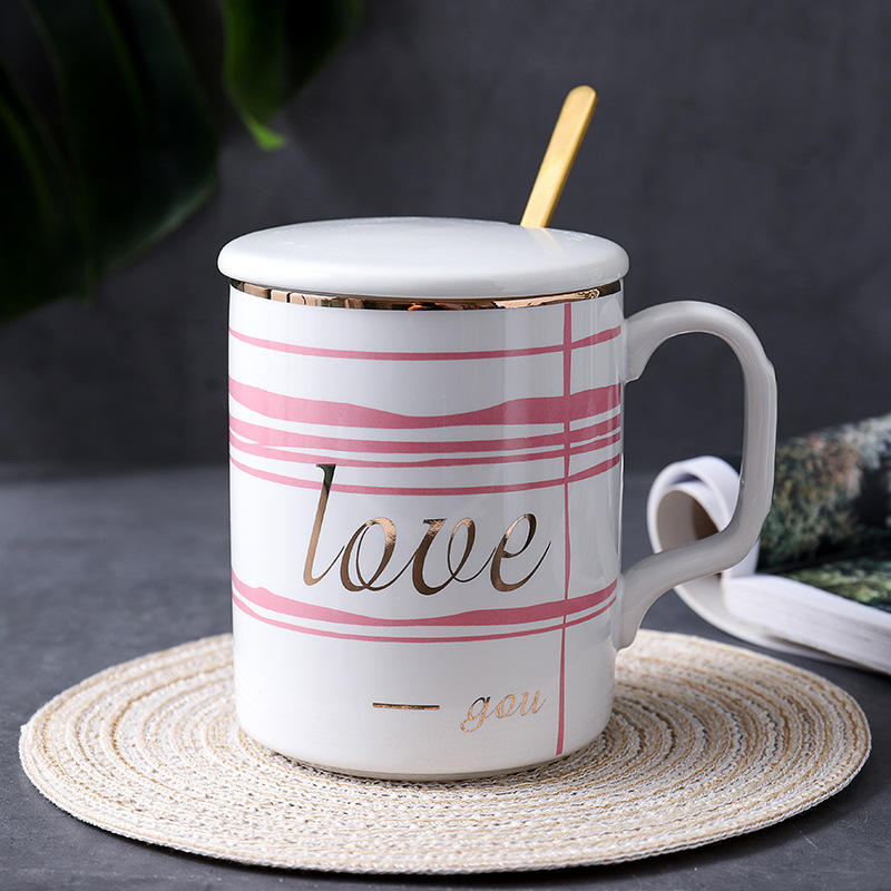 Internet Famous Custom Logo Marbling Ceramic Coffee Mug Cup With Lid Spoon