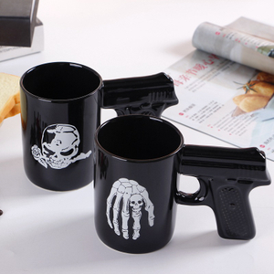 Vintage Unique Design Gun Shaped Handle Ceramic Mug