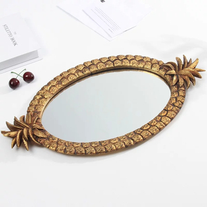 Gold Handmade pineapple Resin Decoration cosmetic display Mirror Serving Tray