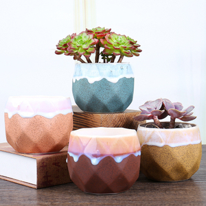White Cylinder Home Decor Ornaments Mini Ceramic Succulent Plant Pots with Metal Stands