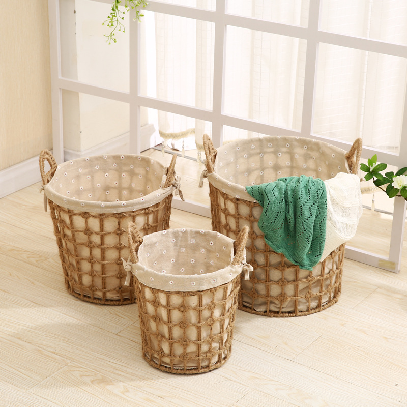 Seagrass Storage Baskets with Insert Handles Ideal for Home And Bathroom Organization