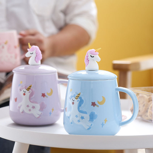 Wholesale Custom Creative Gift Ceramic Mug with Lid Office Household Milk Coffee Tea Cup