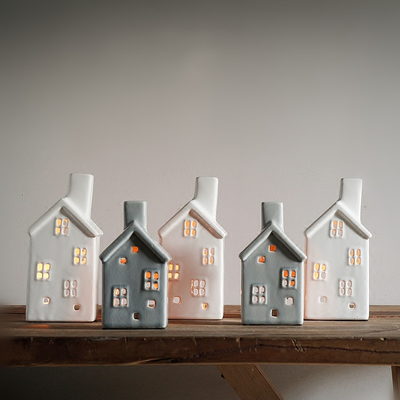 Ceramic Unpainted Christmas Ornament Lighted Houses