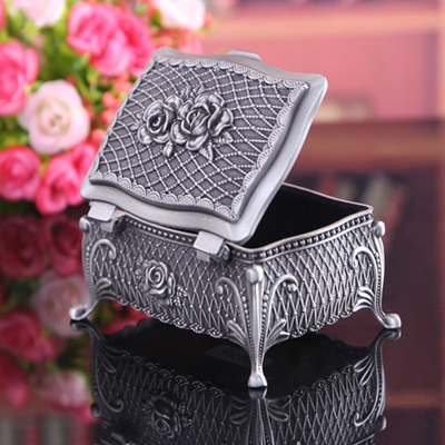 Pewter Plated Zinc Alloy Tableware Gift Craft Box for Jewelry Wholesales