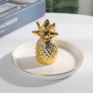 Wholesale Gold Design Ceramic Jewelry Ring Holder Dish