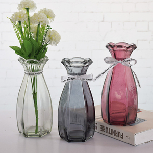 Wholesale Round Pink Glass Vase And Chinese Vase with Flower Vase for Headstones