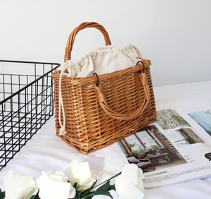 Cheap Handmade Brown Handled Willow Wicker Picnic Basket