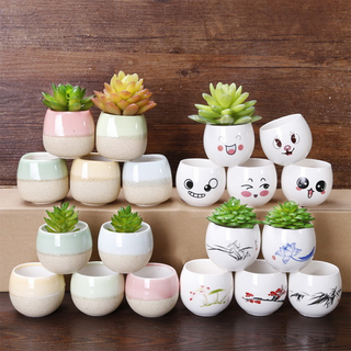 Customized new style home decor cheap colorful modern geometric ceramic flower pot
