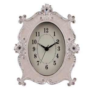 White Enamel with Crystal Simple Tabletop Clock Design