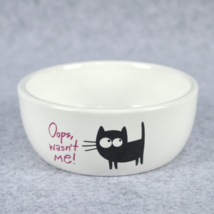 Fancy Dolomite White Ceramic Dog Cat Pet Food Bowl