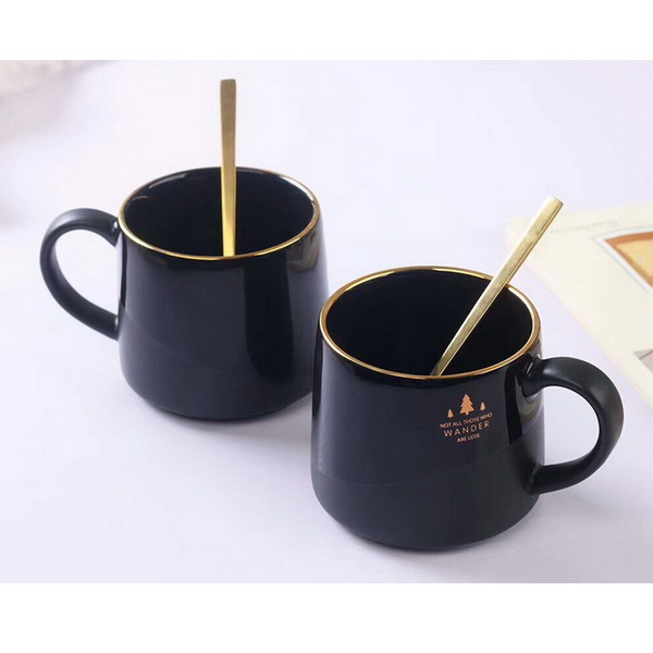 Factory Direct Wholesale Novelty Coffee Mugs with Lid Spoon Cheap Ceramic