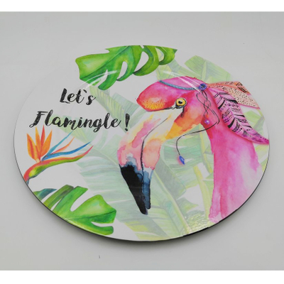 Stylish Outdoor Decoration Flamingo Melamine Plastic Plate