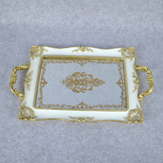 Wholesale Classical White Polyresin Towel Tray Towel Disk with Mirror Face