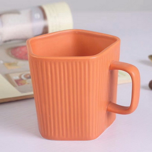 Hand Painted Travel Ceramic Mug Orange Square Ceramic Mug