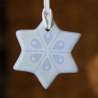 Star Shape Christmas Tree Decoration, Ceramic Ornament, Personalized Star Pendant