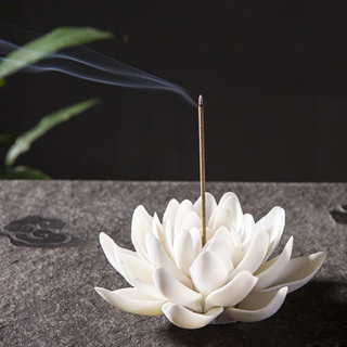 Ceramic White Lotus Incense Burner Home Decor Incense Stick Holder Buddhist Aromatherapy Incense Censer Use In Office Teahouse
