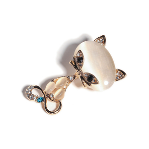 New Fashion Hot Sale Gold Color Filled Multicolor Opal Stone Fox Brooches Women's Fashion Cute Animal Crystal Pin Brooch Jewelry