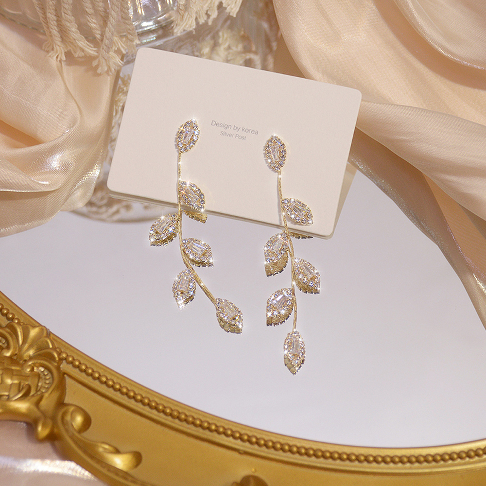 Luxury 14K Real Gold Plated Leaves Earring Delicate Micro Inlaid Cubic Zircon CZ Stud Earrings Wedding Jewelry Pendant