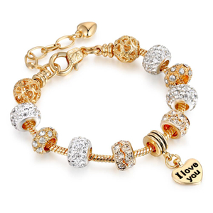 19cm Fit Original Bracelets Gold For Women Bead Bracelet Armband Brass Charm Crystal Beads Bracelet Bangle Holiday Gift