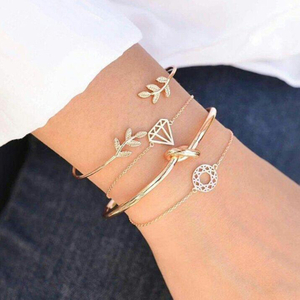 4pcs/Set Fashion Bohemia Leaf Knot Hand Cuff Link Chain Charm Bracelet Bangle for Women Gold Bracelets Femme Jewelry 6115