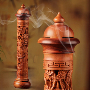 T Vertical Redwood Solid Wood Incense Burner Wooden for Incense Sticks 29cm Living Room Stick Incense Base
