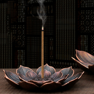 New 1PC Alloy Incense Burner Stick Holder Plate Buddhism Lotus Censer Bronze Nasturtium Incense Burner