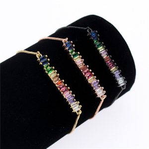 Colorful Cubic Zirconia Rainbow Bracelet for Women Gold Bracelets & Bangles Crystal Charm Jewelry Gift MBR190052