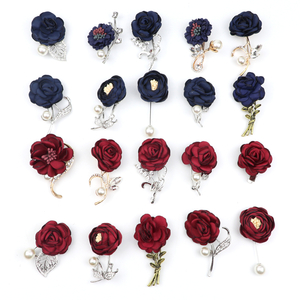 Red Royal Blue Rose Flower Brooch Women Men Jewelry Pin Bride Groom Collar Breastpin Brooches Corsage Dress Coat Accessories