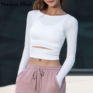 Women Gym White Yoga Crop Tops Yoga Shirts Long Sleeve Workout Tops Fitness Running Sport T-Shirts Training Yoga Sportswear Sexy