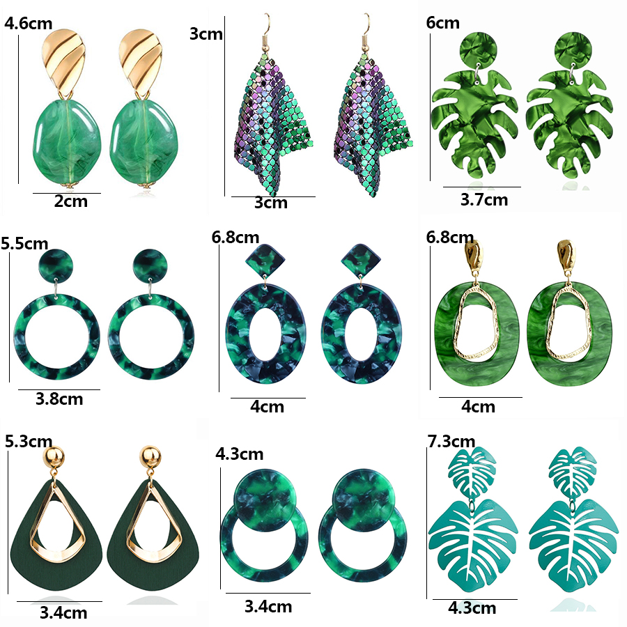 Fashion Statement Earrings Vintage Green Resin Leaf Earrings For Women 2021 Trend Gold Geometric Hanging Earrings Female Jewelry