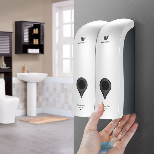Professional Bathroom Wall Mounted Plastic Double Hotel Liquid Soap Dispenser