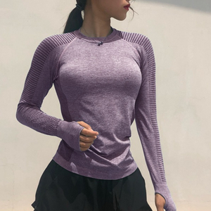 Women Long Sleeve Yoga Tops Fitness Running T Shirts Gym Wear Sports Wear Female Yoga Shirt Pure Color Sports Clothes