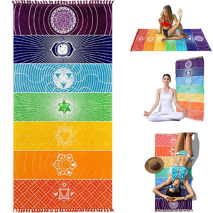 Rainbow Stripes Scarf Bohemia Wall Hanging India Mandala Blanket 7 Chakra Colored Tapestry