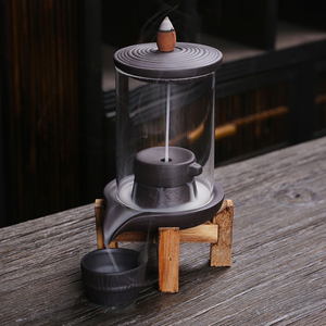 Handmade Ceramic Incense Burner Smoke Waterfall Backflow Incense Burner Living Room Decor Incense Holder Feng Shui Decoration