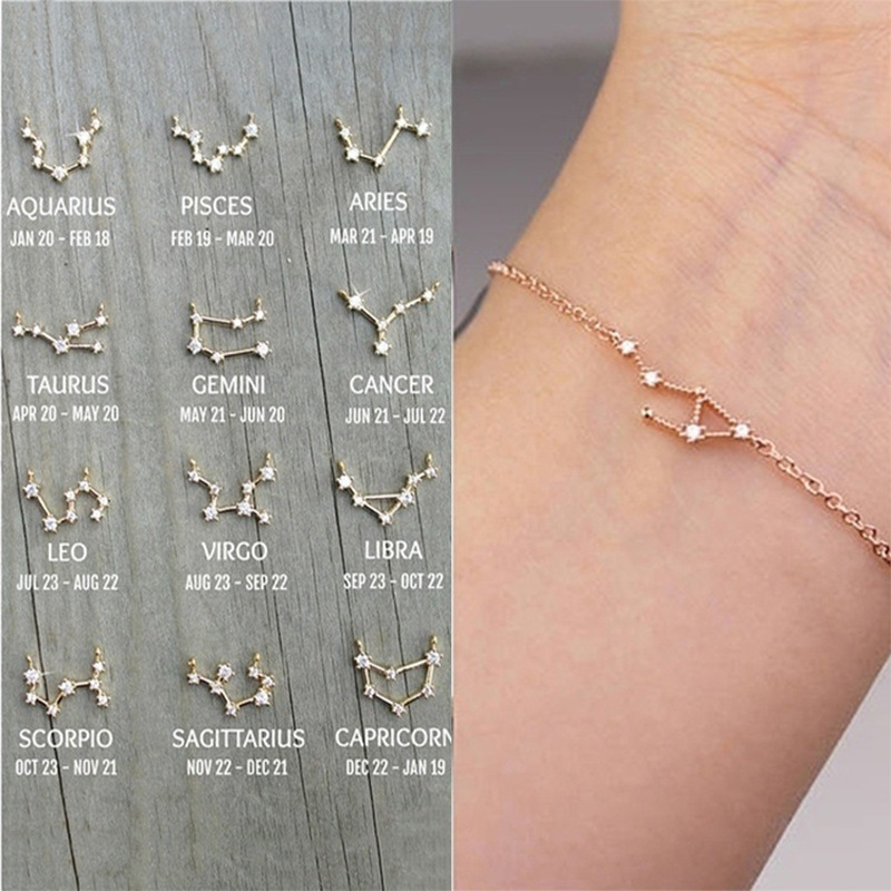 Constellation Simple Bracelets for Women Charm Zodiac Pattern Chain Bangles Birthday Bracelet Jewelry Gift