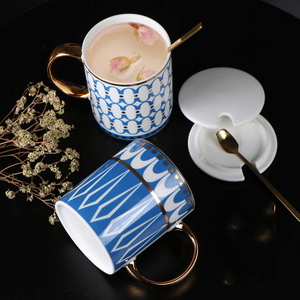 Creative American Gold Ceramic Couple Mug Water Mug Ins Nordic Afternoon Tea Mug