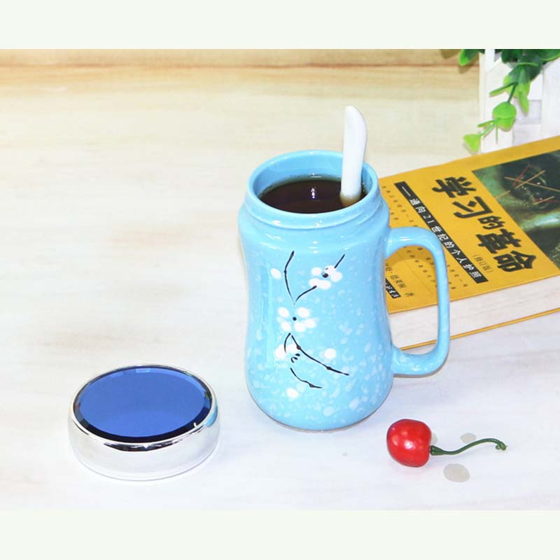 Creative Snowflake Glaze Mirror Ceramic Cup Japanese Hand-painted Ceramic Cup with Cover
