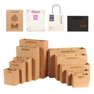 Wholesale Custom Printed Your Own Logo White Brown Kraft Gift Craft Shopping Paper Bag With Ribbon Handles