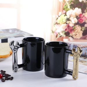Wholesale Wrench Hammer Shape Tool Handle Black Ceramic Travel Coffee Mug