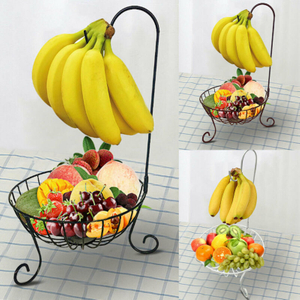 Decorative 11in Round Fruit Vegetable Chrome Wire Basket Metal Bowl With Banana Holder