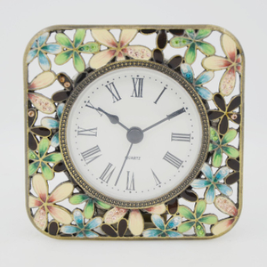 Pewter Rose Table Clock Round