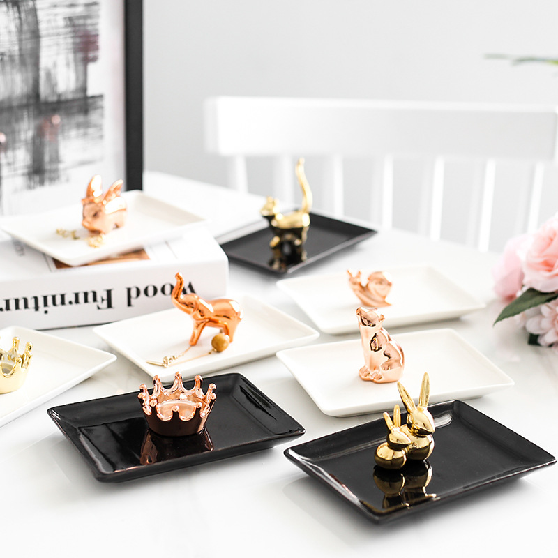 Factory Supply Wedding Ceramic Decal Square Ring Dish Decorative Trinket Tray on Sale
