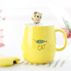 porcelain spoon ceramic cup cartoon plant mug with lid spoon coffee cup breakfast cup