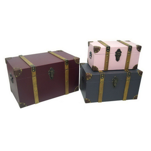 Canvas Surface with Decorative Leather Belts MDF Wooden Storage Chest Trunk