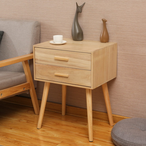Locker Double Drawer Nightstand Cabinet Storage Solid Wood Legs