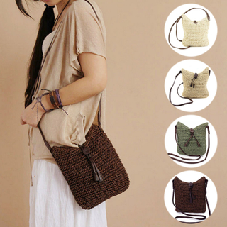 New Fashion Woven Shoulder Bags Straw Summer Women Weave Crossbody Beach Travel Handbag
